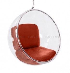 bubble chair suspendue rouge