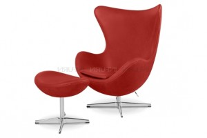 fauteuil oeuf jacobsen cuir rouge