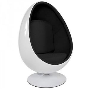 fauteuil oeuf design noir blanc